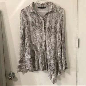 Zara asymmetrical snake skin blouse